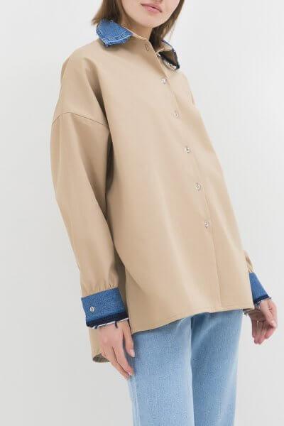 Хлопковая рубашка с джинсовыми манжетами WNDM_csb2, фото 1 - в интеренет магазине KAPSULA