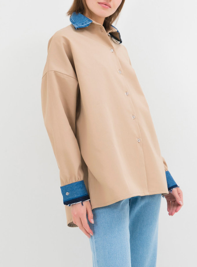 Хлопковая рубашка с джинсовыми манжетами WNDM_csb2, фото 1 - в интернет магазине KAPSULA