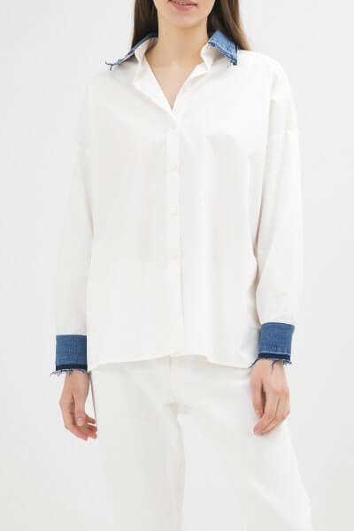 Хлопковая рубашка с джинсовыми манжетами WNDM_csw2, фото 1 - в интеренет магазине KAPSULA
