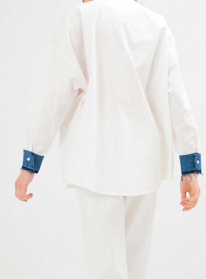 Хлопковая рубашка с джинсовыми манжетами WNDM_csw2, фото 1 - в интернет магазине KAPSULA