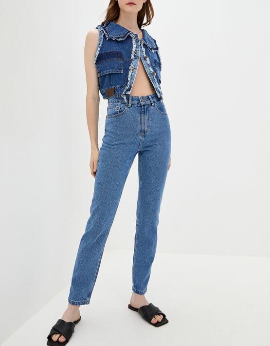 Хлопковые джинсы Mom WNDM_jm1, фото 4 - в интеренет магазине KAPSULA