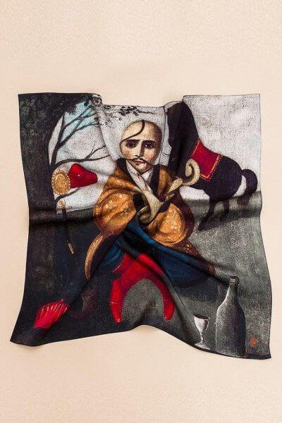Шелковый платок Казак Мамай 100х100 OLZ_AK15, фото 2 - в интеренет магазине KAPSULA
