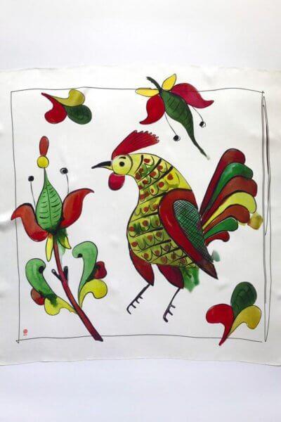 Шелковый платок Петушок 100х100 OLZ_AK17, фото 7 - в интеренет магазине KAPSULA