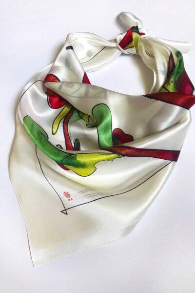 Шелковый платок Петушок 65х65 OLZ_AK18, фото 1 - в интеренет магазине KAPSULA