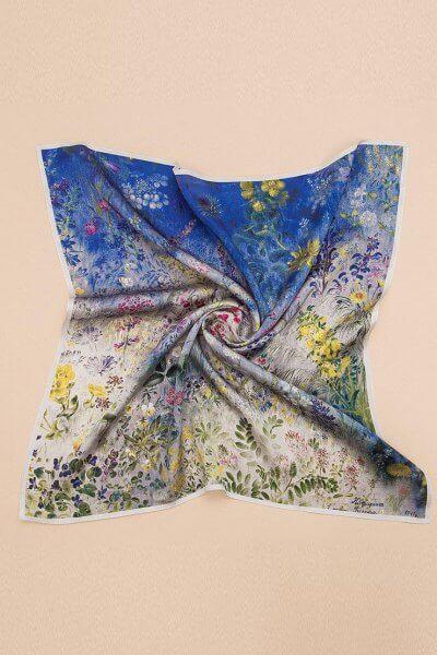 Шелковый платок Полевые цветы 100х100 OLZ_AK23, фото 2 - в интеренет магазине KAPSULA