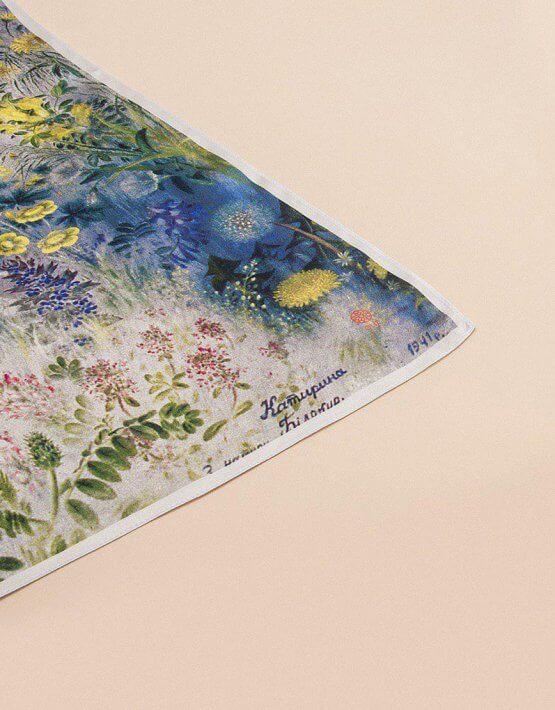 Шелковый платок Полевые цветы 65х65 OLZ_АК24, фото 7 - в интеренет магазине KAPSULA