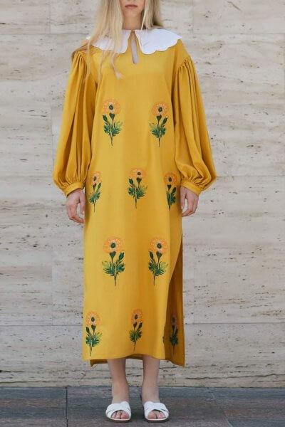 Льняное платье с вышивкой Beautiful Anet ZHPN_BA_SS20_Yellow, фото 1 - в интеренет магазине KAPSULA