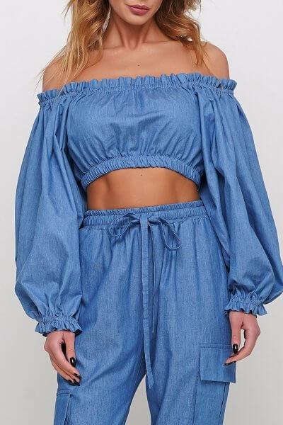 Блуза из тонкого джинса AY_2968, фото 1 - в интеренет магазине KAPSULA
