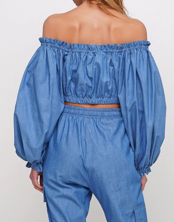Блуза из тонкого джинса AY_2968, фото 2 - в интеренет магазине KAPSULA