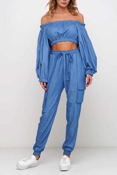 Брюки из легкого джинса с карманами AY_2969, фото 1 - в интеренет магазине KAPSULA