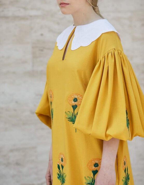 Льняное платье с вышивкой Beautiful Anet ZHPN_BA_SS20_Yellow, фото 5 - в интеренет магазине KAPSULA