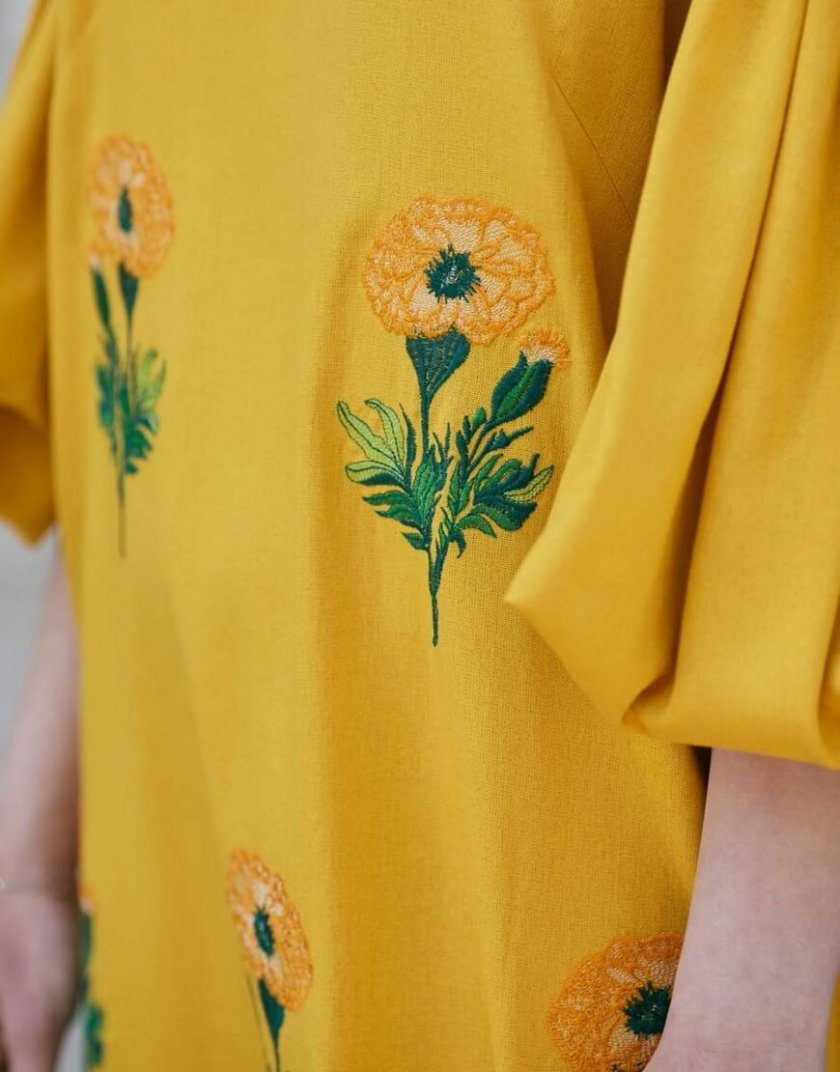 Льняное платье с вышивкой Beautiful Anet ZHPN_BA_SS20_Yellow, фото 1 - в интернет магазине KAPSULA