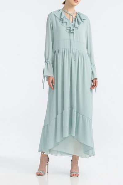 Платье с рюшами из жатого шифона ALOT_100437, фото 3 - в интеренет магазине KAPSULA