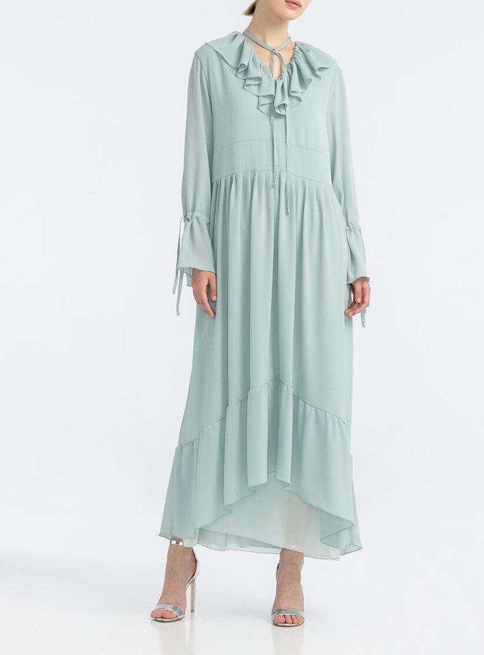 Платье с рюшами из жатого шифона ALOT_100437, фото 1 - в интернет магазине KAPSULA