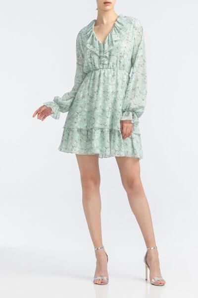 Платье с V- вырезом и рюшами ALOT_100438, фото 2 - в интеренет магазине KAPSULA