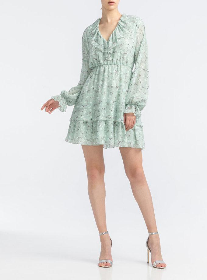 Платье с V- вырезом и рюшами ALOT_100438, фото 1 - в интеренет магазине KAPSULA