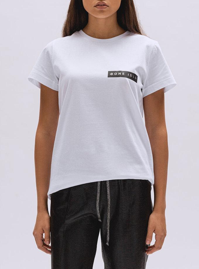 Хлопковая футболка Basic с лого BI_BC001, фото 1 - в интернет магазине KAPSULA