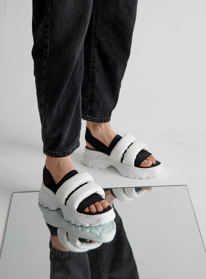 Сандалии на платформе с дутыми ремнями CLS_CSS20PSBW, фото 1 - в интеренет магазине KAPSULA