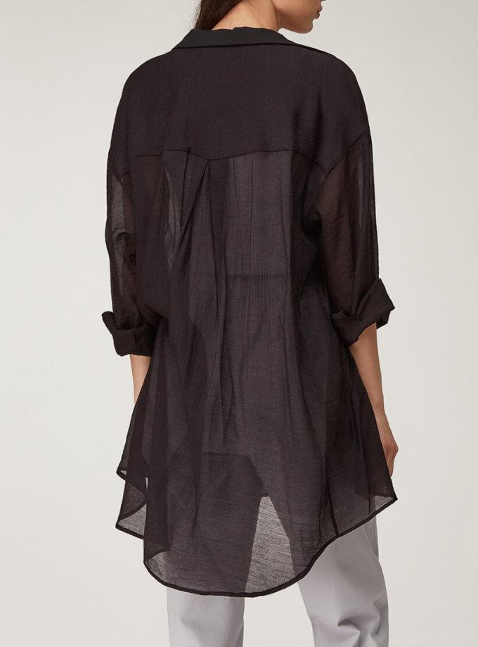 Полупрозрачная рубашка из хлопка CVR_SHTBLACK2020, фото 1 - в интернет магазине KAPSULA