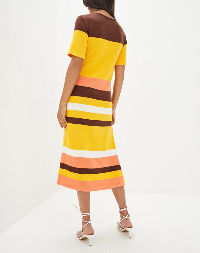 Хлопковое платье с разрезом KNIT_MP002XW10T25, фото 1 - в интернет магазине KAPSULA