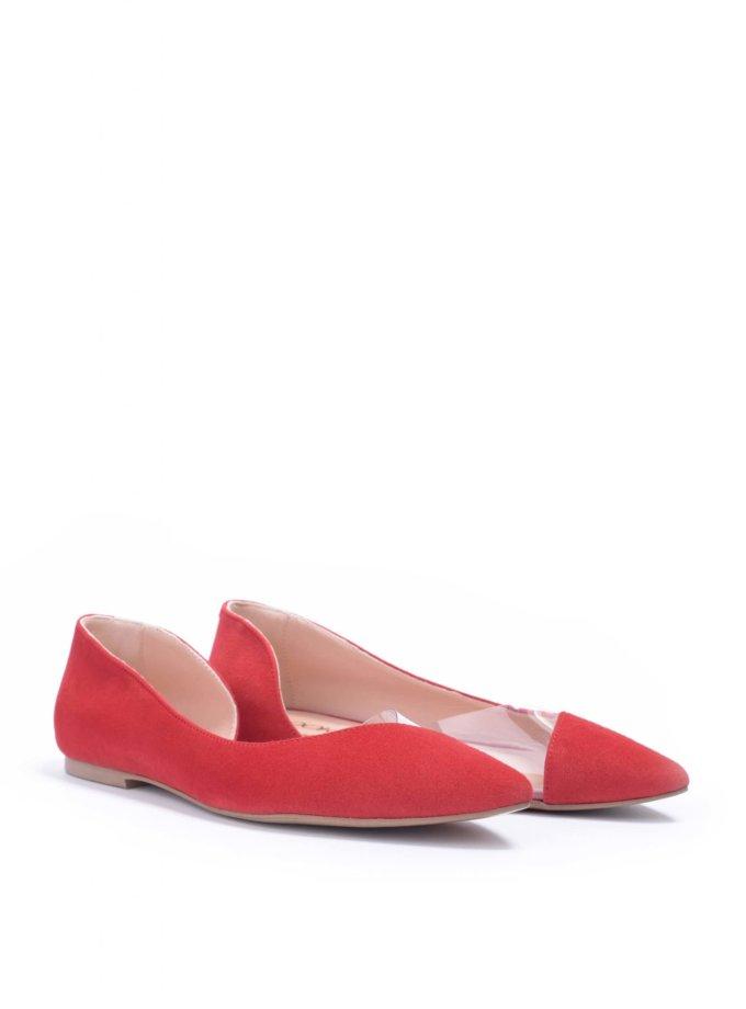 Замшевые балетки с силиконовой вставкой Basic Red LA_RedBasic_SS20_17, фото 1 - в интеренет магазине KAPSULA