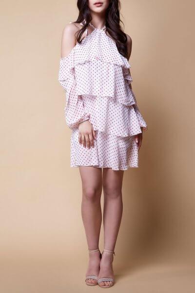 Платье с открытыми плечами и воланами MC_MY18529-1, фото 1 - в интеренет магазине KAPSULA
