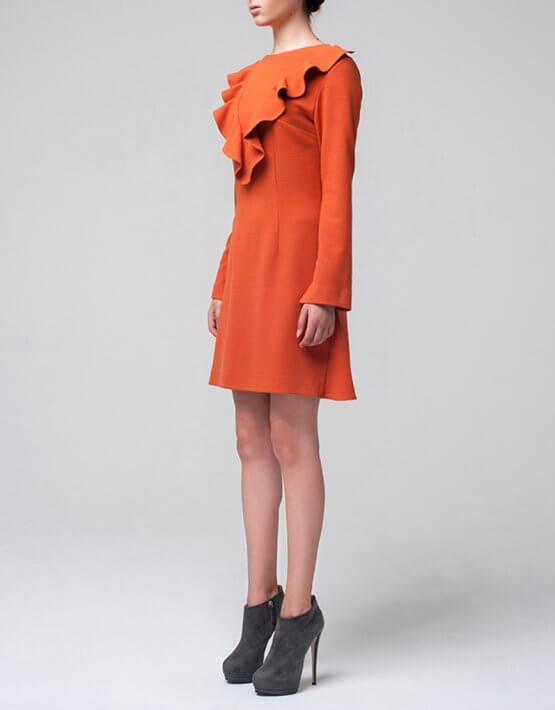 Платье с V-образным воланом MIN_fw1617-01_outlet, фото 4 - в интеренет магазине KAPSULA