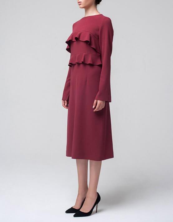 Платье миди с воланами MIN_fw1617-03_outlet, фото 3 - в интеренет магазине KAPSULA