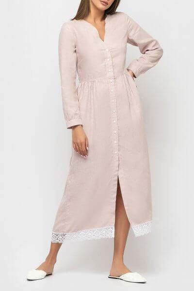 Льняное платье с кружевом MRND_М34-1-1, фото 4 - в интеренет магазине KAPSULA