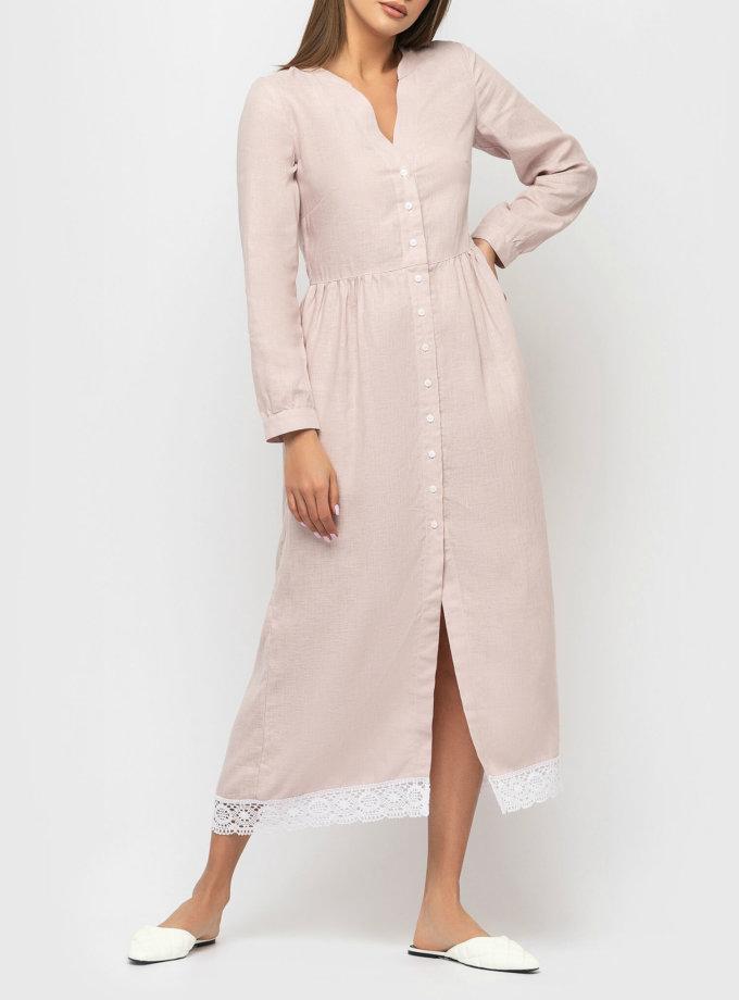 Льняное платье с кружевом MRND_М34-1-1, фото 1 - в интернет магазине KAPSULA