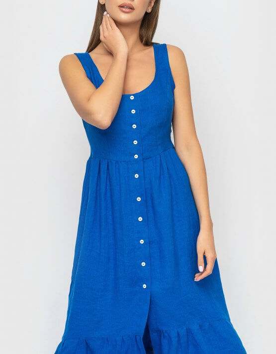 Платье из льна с воланом MRND_М51-2, фото 4 - в интеренет магазине KAPSULA