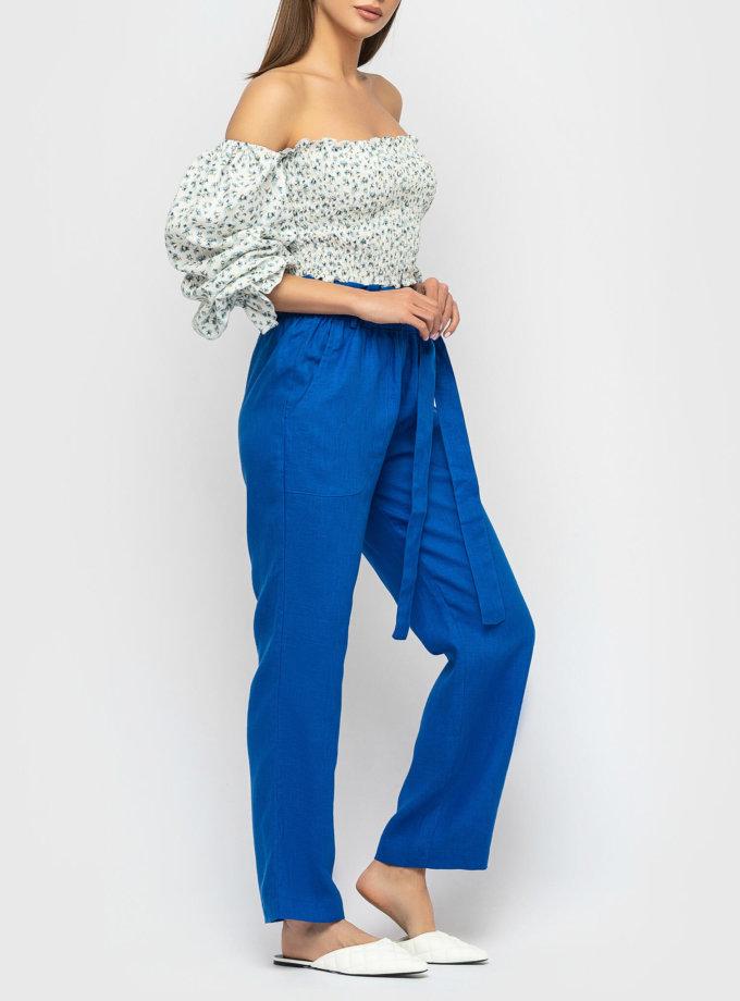 Льняные брюки на высокой посадке MRND_М55-2, фото 1 - в интернет магазине KAPSULA