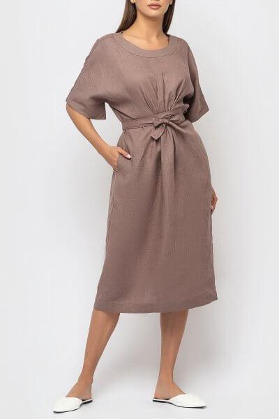 Льняное платье с поясом MRND_М56-2, фото 3 - в интеренет магазине KAPSULA