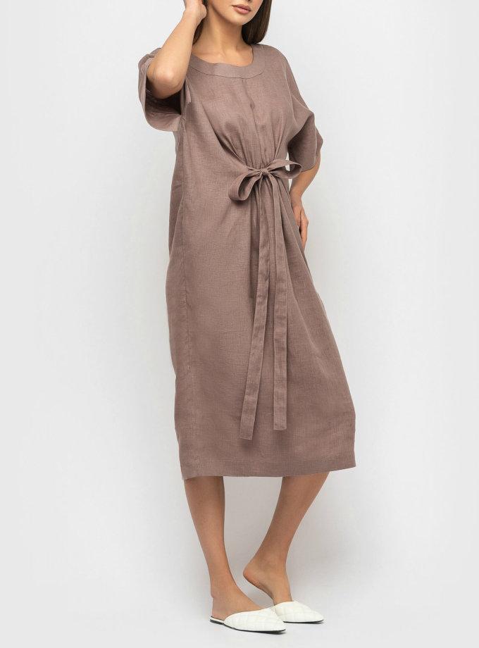 Льняное платье с поясом MRND_М56-2, фото 1 - в интернет магазине KAPSULA