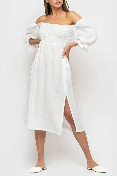 Льняное платье со спущенными рукавами MRND_М57-1, фото 3 - в интеренет магазине KAPSULA