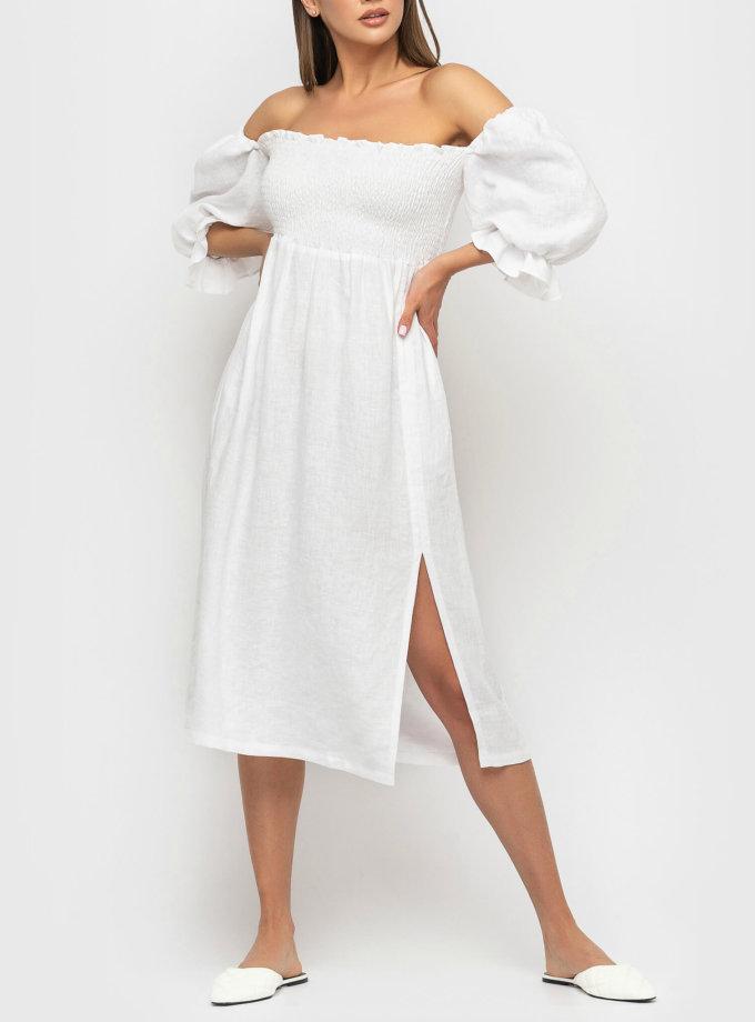Льняное платье со спущенными рукавами MRND_М57-1, фото 1 - в интернет магазине KAPSULA
