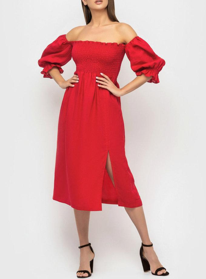 Льняное платье со спущенными рукавами MRND_М57-2, фото 1 - в интеренет магазине KAPSULA