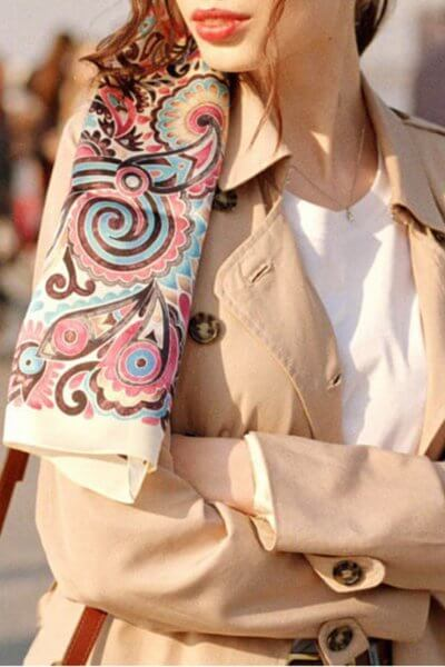 Шелковая шаль Розовая абстракция 30х150 см OLZ_AK7, фото 7 - в интеренет магазине KAPSULA
