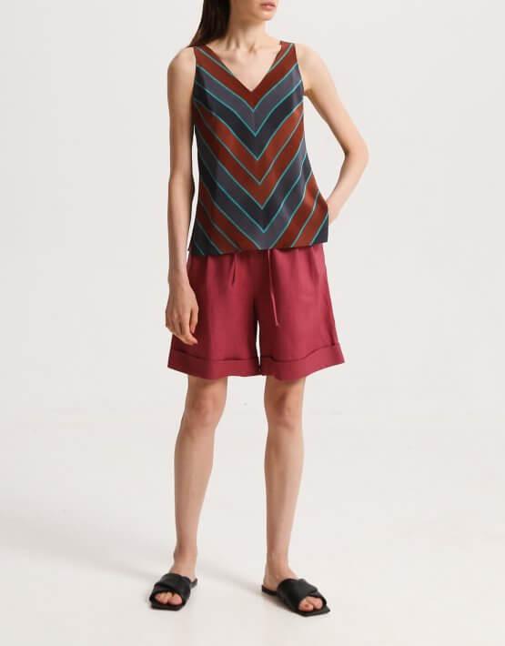 Шелковая блуза с V-вырезом SHKO_20014001, фото 4 - в интеренет магазине KAPSULA