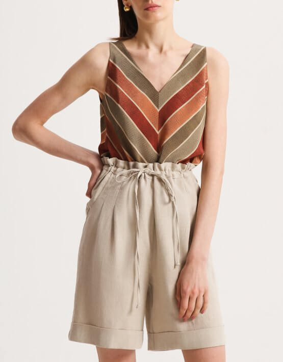 Шелковая блуза с V-вырезом SHKO_20014002, фото 5 - в интеренет магазине KAPSULA