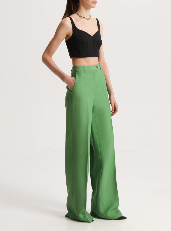 Прямые брюки зелёные SHKO_19039004, фото 1 - в интернет магазине KAPSULA