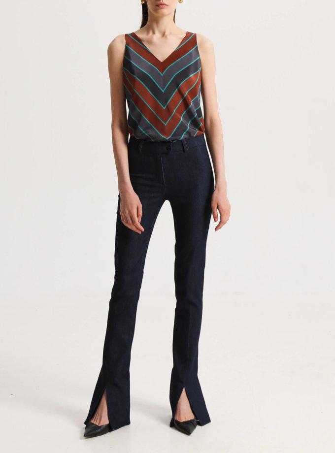 Джинсовые брюки с разрезами спереди SHKO_19056003, фото 1 - в интеренет магазине KAPSULA