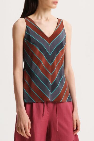 Шелковая блуза с V-вырезом SHKO_20014001, фото 1 - в интеренет магазине KAPSULA