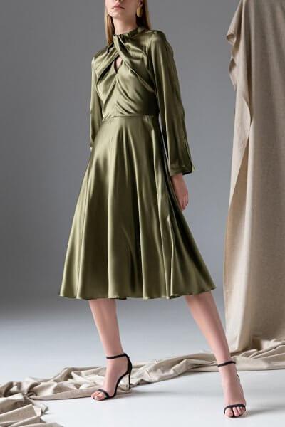 Шелковое платье с узлом спереди SKR_10130, фото 1 - в интеренет магазине KAPSULA