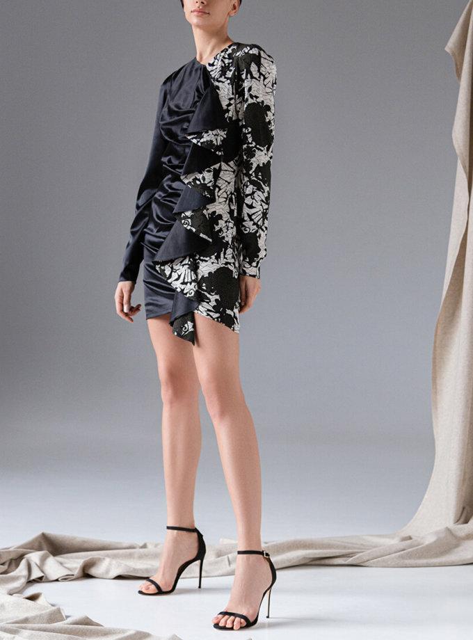 Шелковое платье с воланом SKR_10135, фото 1 - в интеренет магазине KAPSULA