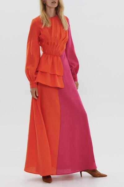 Двухцветное платье из льна ARS_SS20_3, фото 3 - в интеренет магазине KAPSULA