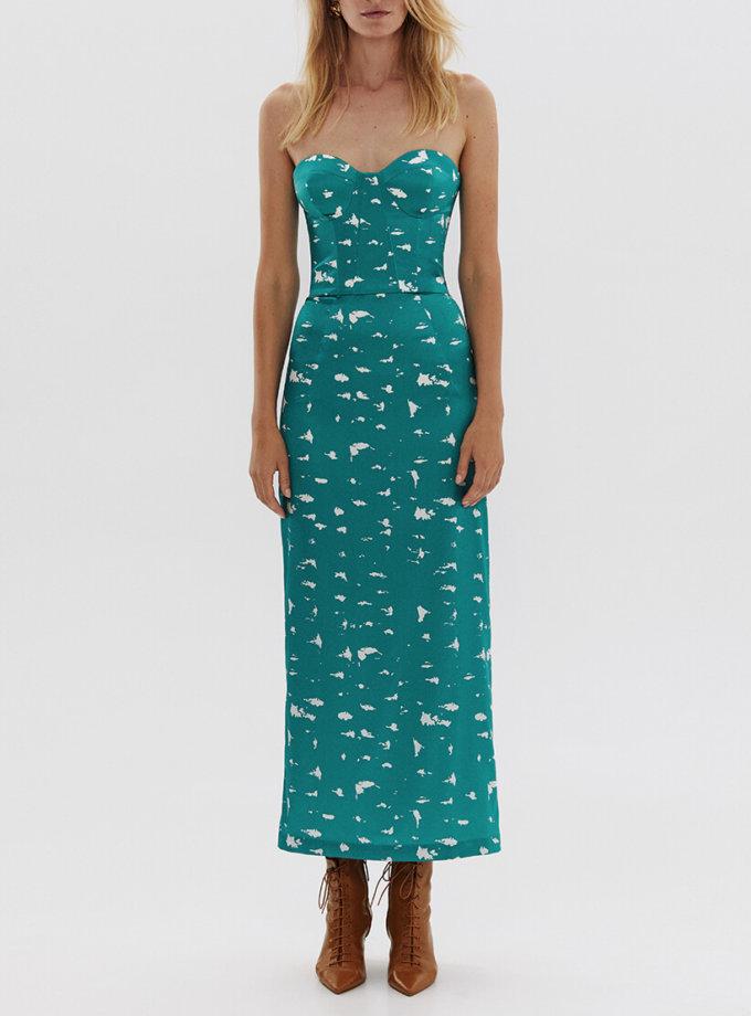 Платье-корсет из шелка в принт ARS_SS20_16, фото 1 - в интернет магазине KAPSULA