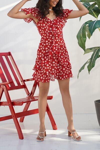 Шифоновое платье с воланами Ella MY4819, фото 1 - в интеренет магазине KAPSULA