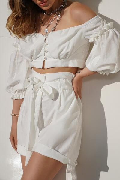 Льняной костюм с шортами Aveira MY3719-2, фото 1 - в интеренет магазине KAPSULA