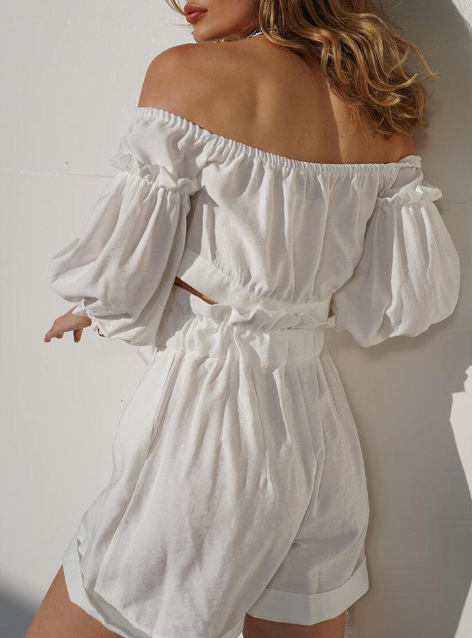 Льняной костюм с шортами Aveira MY3719-2, фото 1 - в интернет магазине KAPSULA